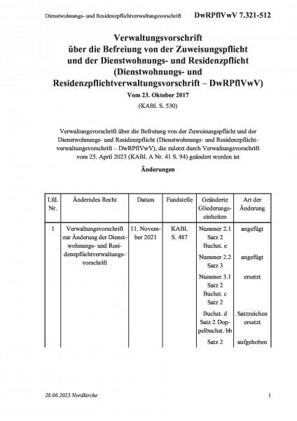 7.321-512 Dienstwohnungs- und Residenzpflichtverwaltungsvorschrift