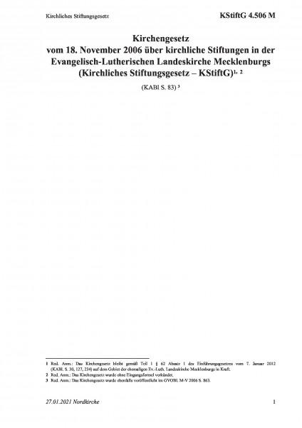 4.506 M Kirchliches Stiftungsgesetz