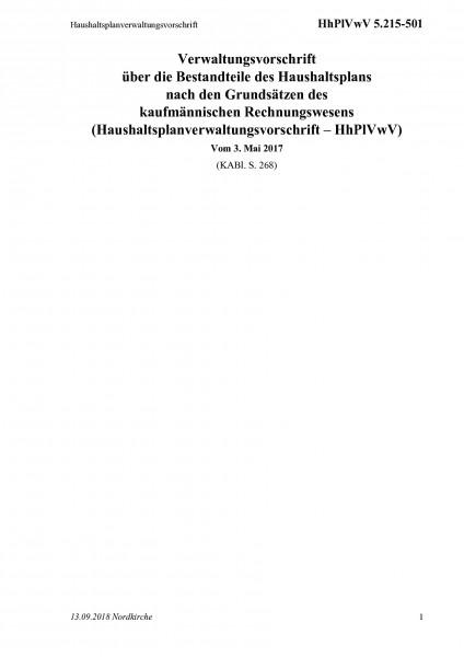 5.215-501 Haushaltsplanverwaltungsvorschrift