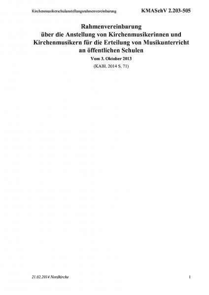 2.203-505 Kirchenmusikerschulanstellungsrahmenvereinbarung