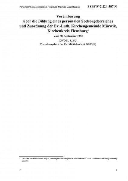 2.224-507 N Personaler Seelsorgebereich Flensburg-Mürwik Vereinbarung