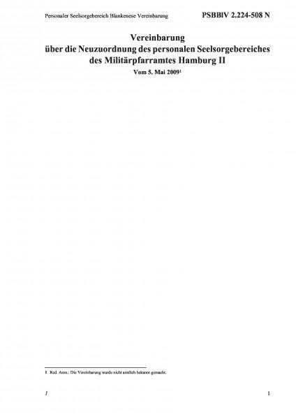 2.224-508 N Personaler Seelsorgebereich Blankenese Vereinbarung