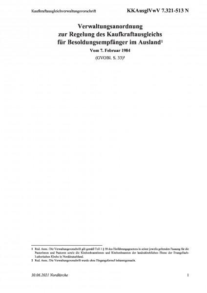 7.321-513 N Kaufkraftausgleichverwaltungsvorschrift