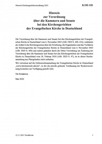 8.102-101 Hinweis Kirchengerichtsverordnung EKD