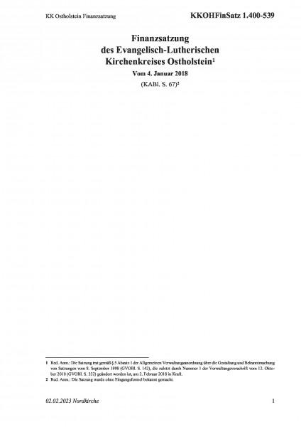 1.400-539 KK Ostholstein Finanzsatzung