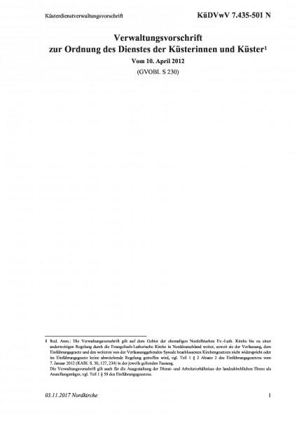 7.435-501 N Küsterdienstverwaltungsvorschrift