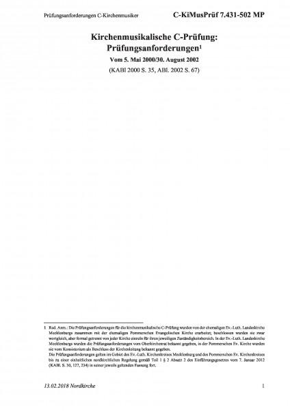7.431-502 MP Prüfungsanforderungen C-Kirchenmusiker