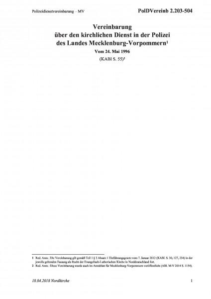 2.203-504 Polizeidienstvereinbarung – MV