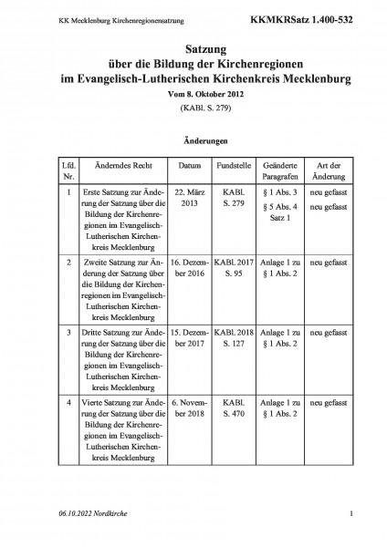 1.400-532 KK Mecklenburg Kirchenregionensatzung