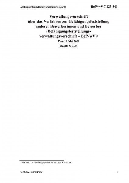 7.123-501 Befähigungsfeststellungsverwaltungsvorschrift