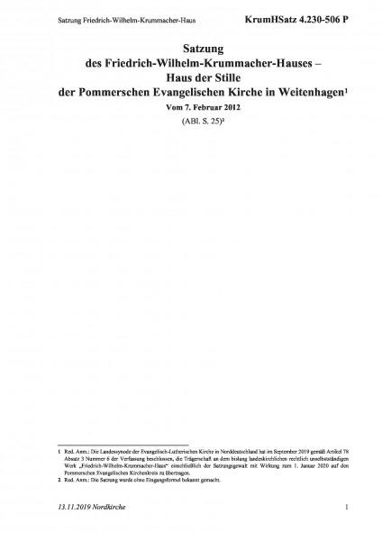 4.230-506 P Satzung Friedrich-Wilhelm-Krummacher-Haus