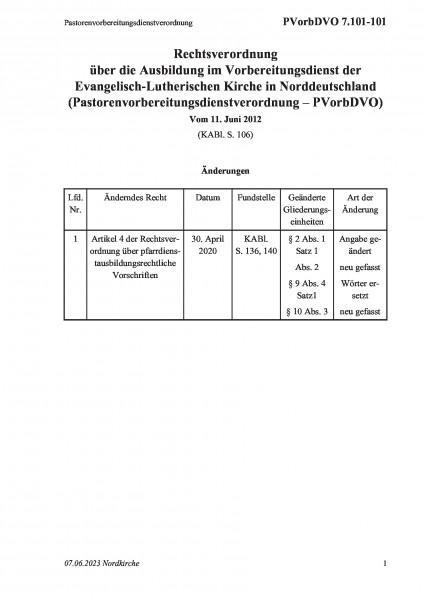 7.101-101 Pastorenvorbereitungsdienstverordnung
