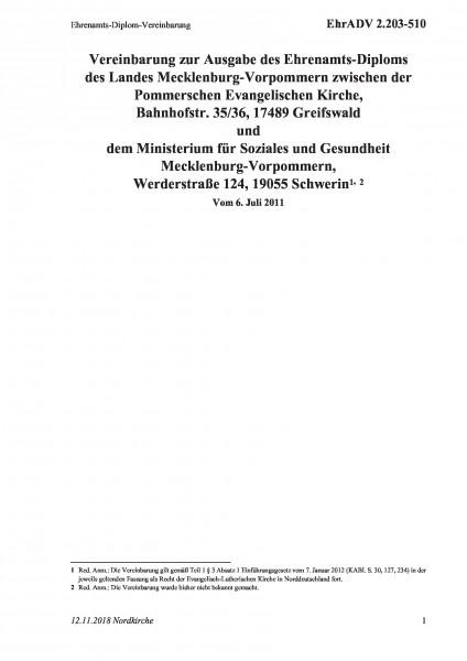 2.203-510 Ehrenamts-Diplom-Vereinbarung
