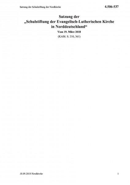 4.506-537 Satzung der Schulstiftung der Nordkirche