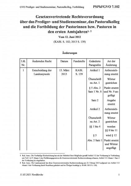 7.102 GVO Prediger- und Studienseminar, Pastoralkolleg, Fortbildung