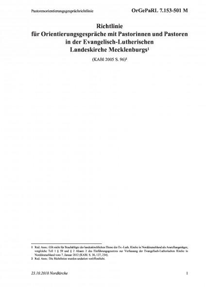 7.153-501 M Pastorenorientierungsgesprächrichtlinie