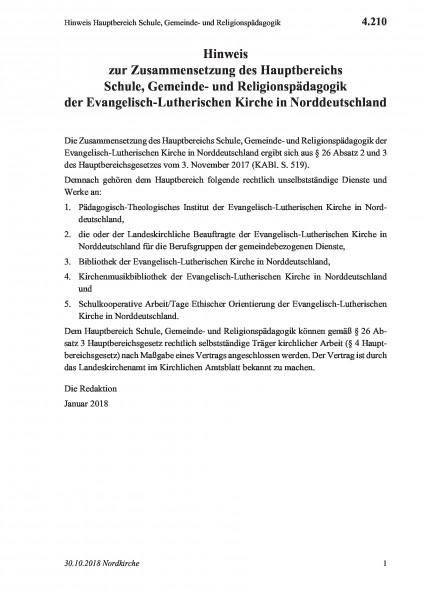 4.210 Hinweis Hauptbereich Schule, Gemeinde- und Religionspädagogik
