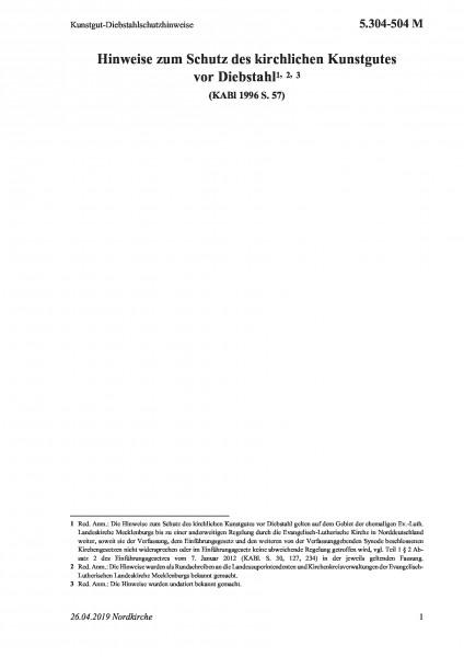 5.304-504 M Kunstgut-Diebstahlschutzhinweise