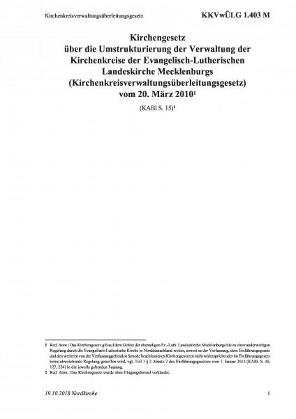 1.403 M Kirchenkreisverwaltungsüberleitungsgesetz