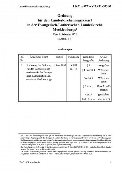 7.431-505 M Landeskirchenmusikwartordnung