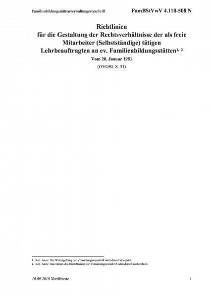 4.110-508 N Familienbildungsstättenverwaltungsvorschrift