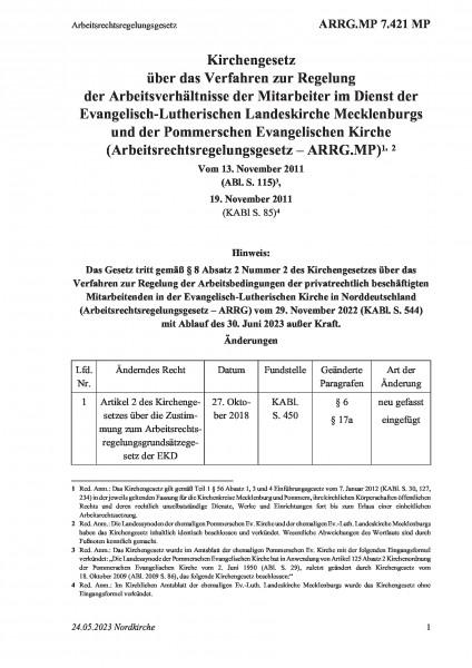 7.421 MP Arbeitsrechtsregelungsgesetz