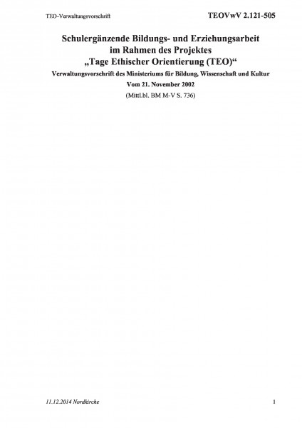 2.121-505 TEO-Verwaltungsvorschrift