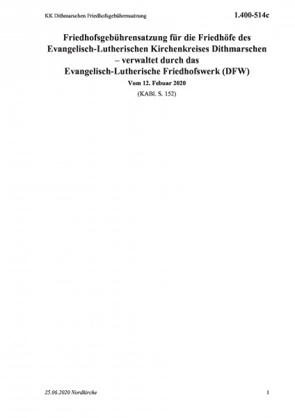 1.400-514c KK Dithmarschen Friedhofsgebührensatzung