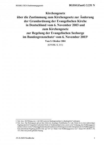2.231 N BGSSG.EKD-Zustimmungsgesetz