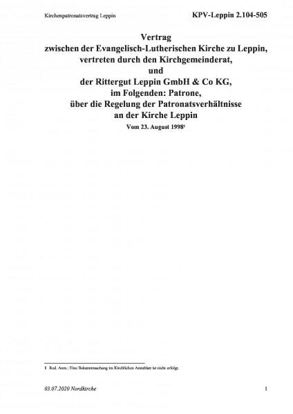 2.104-505 Kirchenpatronatsvertrag Leppin
