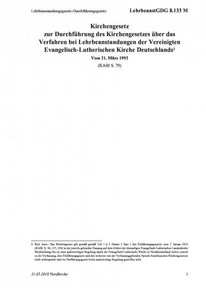 8.133 M Lehrbeanstandungsgesetz-Durchführungsgesetz