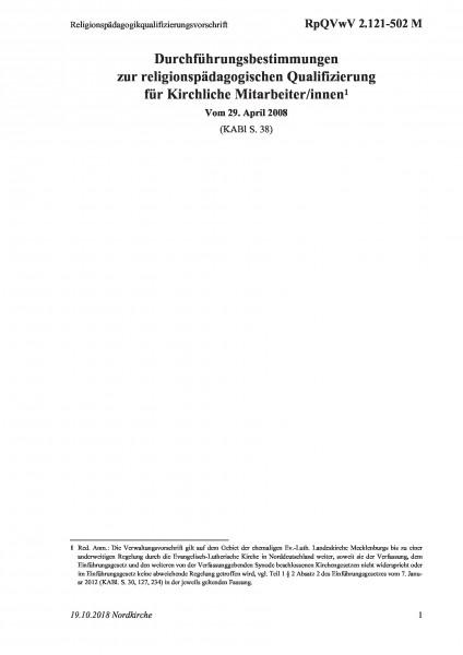 2.121-502 M Religionspädagogikqualifizierungsvorschrift