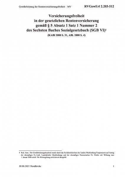 2.203-512 Gewährleistung der Rentenversicherungsfreiheit – MV