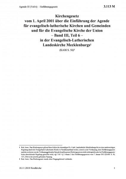 3.113 M Agende III (Teil 6) – Einführungsgesetz