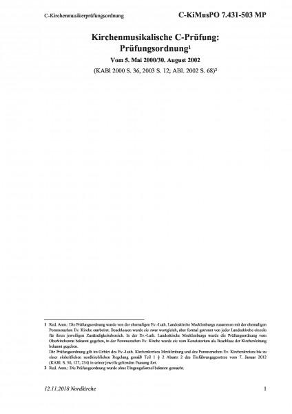 7.431-503 MP C-Kirchenmusikerprüfungsordnung