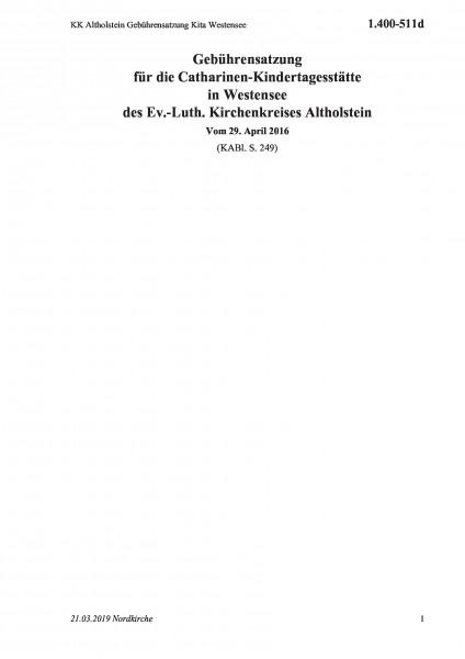 1.400-511d KK Altholstein Gebührensatzung Kita Westensee