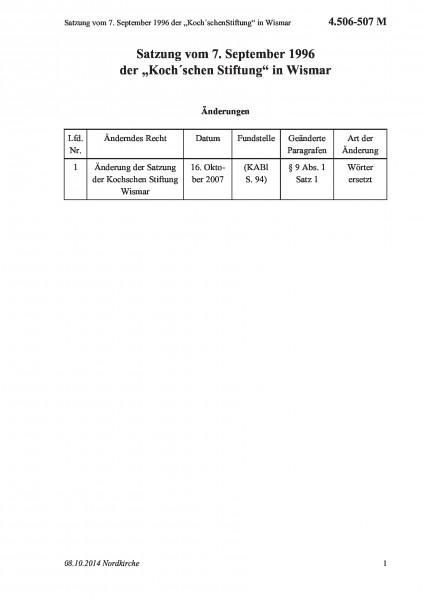 """4.506-507 M Satzung vom 7. September 1996 der """"Koch´schenStiftung"""" in Wismar"""