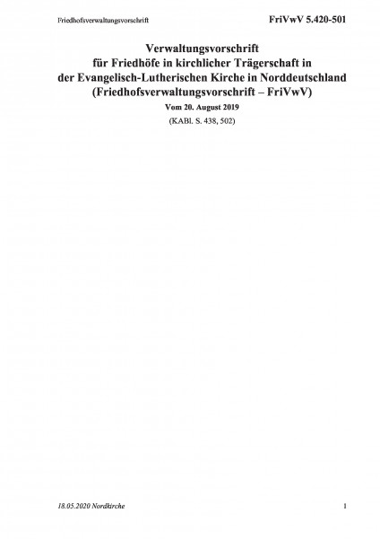 5.420-501 Friedhofsverwaltungsvorschrift