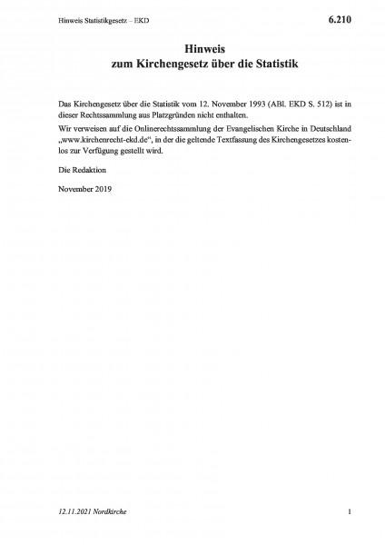6.210 Hinweis Statistikgesetz – EKD