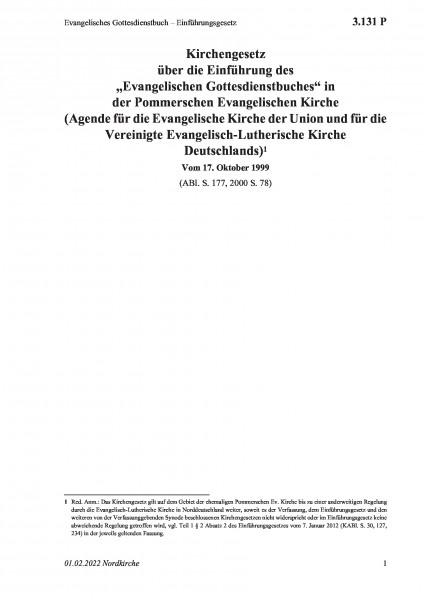 3.131 P Evangelisches Gottesdienstbuch – Einführungsgesetz