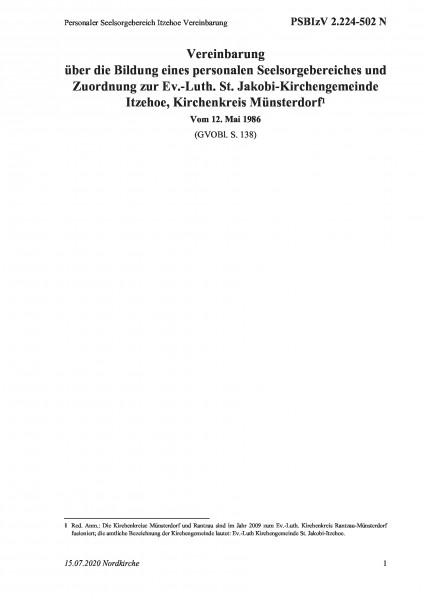 2.224-502 N Personaler Seelsorgebereich Itzehoe Vereinbarung