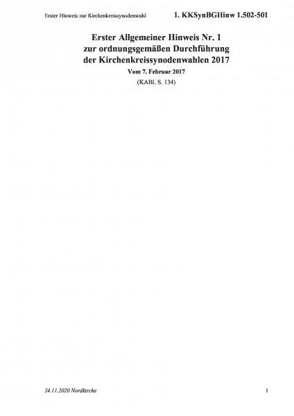 1.502-501 Erster Hinweis zur Kirchenkreissynodenwahl