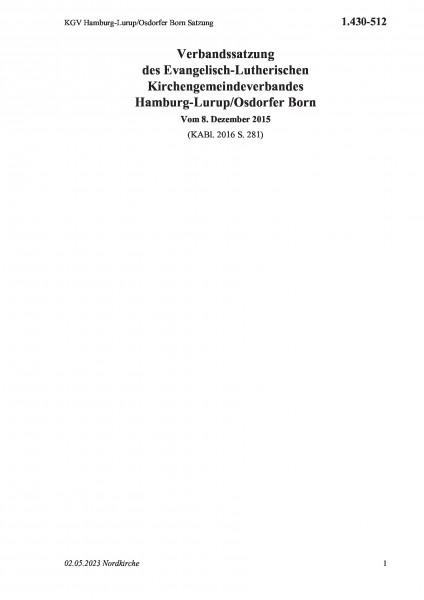 1.430-512 KGV Hamburg-Lurup/Osdorfer Born Satzung