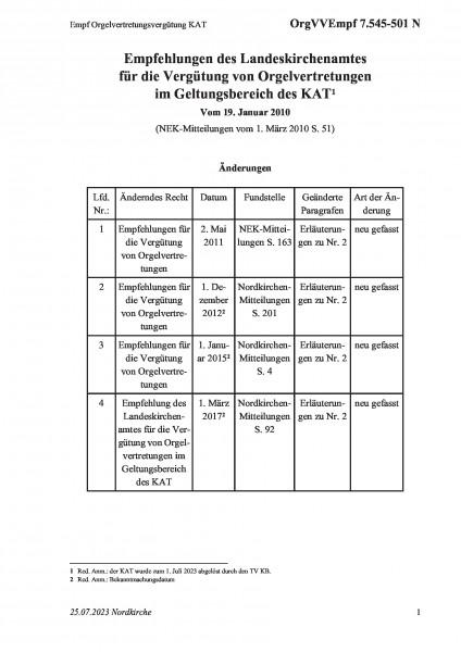 7.545-501 N Empf Orgelvertretungsvergütung KAT