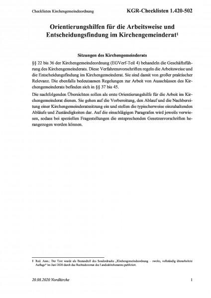 1.420-502 Checklisten Kirchengemeindeordnung