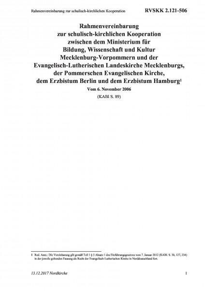 2.121-506 Rahmenvereinbarung zur schulisch-kirchlichen Kooperation