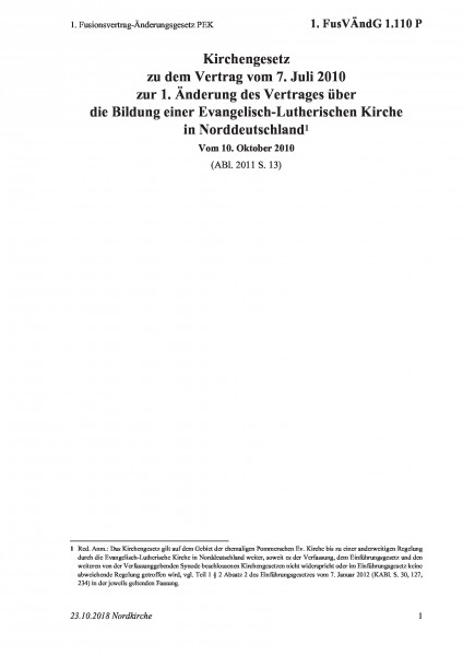 1.110 P 1. Fusionsvertrag-Änderungsgesetz PEK