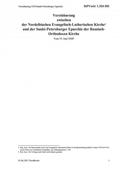 1.324-501 Vereinbarung NEK/Sankt-Petersburger Eparchie