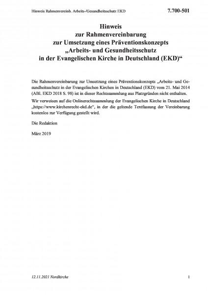 7.700-501 Hinweis Rahmenvereinb. Arbeits-/Gesundheitsschutz EKD