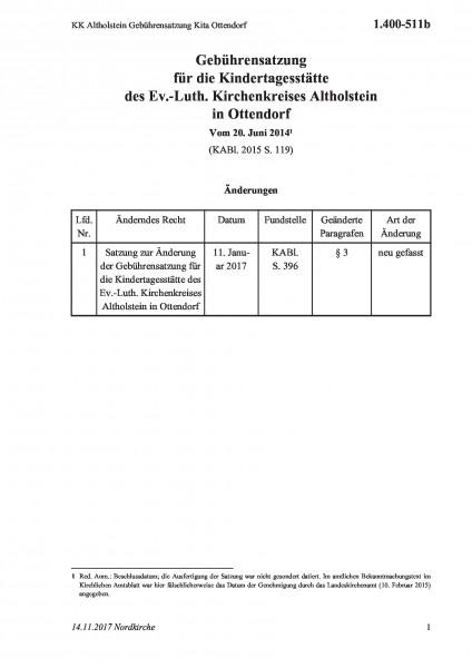 1.400-511b KK Altholstein Gebührensatzung Kita Ottendorf